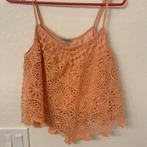 Peachy color cropped tank top